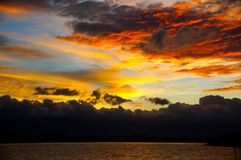 Sunset Sky in Phayao. The sky after the sunset at a big lake in the middle of Phayao, a small town in Thailand royalty free stock images