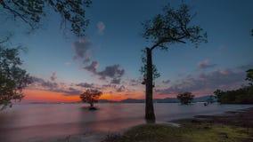 Sunset sky phuket island secret beach panorama 4k time lapse thailand stock video footage