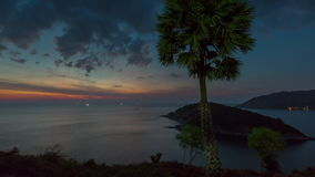 Sunset sky phuket observation deck island panorama 4k time lapse thailand stock video footage