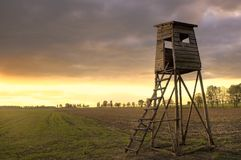 Sunset sky and raised hide. Polish calm landscape Stock Photos