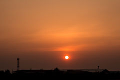 The sunset. The sky is red-orange sunset in the atmosphere Rensselaer Royalty Free Stock Photos