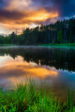 Sunset sky reflecting in a pond at Delaware Water Gap National R Royalty Free Stock Image