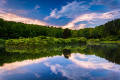 Sunset sky reflecting in a pond at Delaware Water Gap National R Royalty Free Stock Images