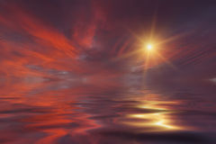 Sunset sky reflection in the water Stock Image