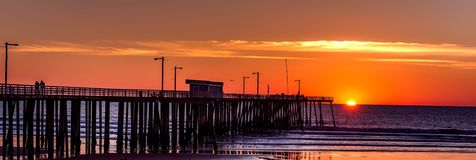 Sunset, Sky, Sea, Pier Royalty Free Stock Images