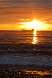 Sunset sky and the ship Royalty Free Stock Photos