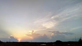 Sunset sky silhouete field Royalty Free Stock Photos