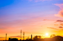 Sunset sky with silhouette antenna Royalty Free Stock Photo