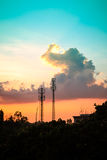 Sunset sky with silhouette antenna Royalty Free Stock Images