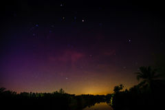 Sunset sky star and river on background light sunrise nature Royalty Free Stock Photography
