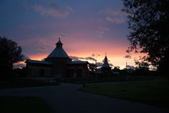 Sunset sky. Summer sunset at the Museum-Reserve Kolomenskoye. Russia Royalty Free Stock Photos
