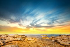 Sunset sky and tropical sea at dusk Royalty Free Stock Photos