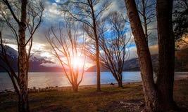 Sunset sky wakatipu lake queenstown new zealand Stock Photos