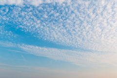 Sunset sky with white clouds and bright sky background. Stock Photo