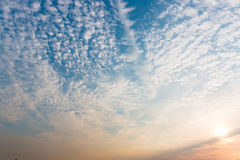 Sunset sky with white clouds and bright sky background. Stock Photography