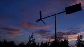 Sunset sky Wind vane. Beautiful sunset sky time lapse. Wind vane stock video footage