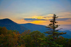 Sunset on Skyline Drive stock photo