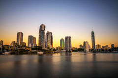 Sunset skyline of Gold Coast downtown in Queensland, Australia. Long exposure stock photography