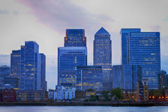Sunset skyline of London Canary Wharf Royalty Free Stock Photography