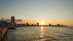 Sunset skyline Malecon Havana. Sunset skyline at Malecon boardwalk, Havana, Cuba Royalty Free Stock Images
