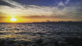 Sunset and a skyline. The skyline of the mumbai city viewed from the nariman point at sunset Royalty Free Stock Photography