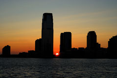 Sunset of the skyline in New Jersey Stock Photo