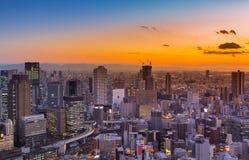 Sunset skyline over Umeda city aerial view. Osaka Japan night cityscape stock images