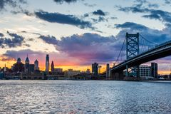 Sunset skyline of philadelphia pennsylvania from camden new jers Royalty Free Stock Image