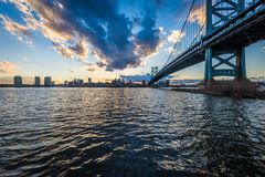 Sunset skyline of philadelphia pennsylvania from camden new jers. Ey with benjamin franklin bridge Royalty Free Stock Photo