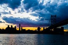 Sunset skyline of philadelphia pennsylvania from camden new jers Stock Images