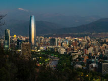 Sunset Skyline in Santiago de Chile Royalty Free Stock Photography