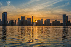 Sunset skyline Sharjah UAE Royalty Free Stock Image