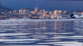 Sunset skyline  view North Vancouver  BC , Canada. Waterfront view on North Vancouver stock video footage