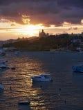 Sunset in Sliema on the island of Malta Europe Royalty Free Stock Photo