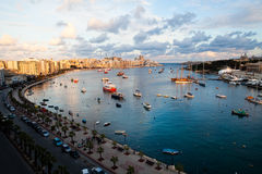 Sunset in Sliema, Malta Royalty Free Stock Photography