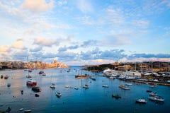 Sunset in Sliema, Malta. Beautiful sunset in winter, Sliema harbor, Malta Stock Image