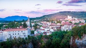 Sunset in a small Croatian town Pazin. Sunset in a small town called Pazin in Croatia Stock Image