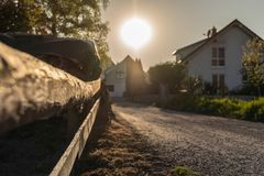 Sunset on a small German village in spring stock image