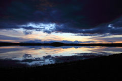 Sunset on a small lake in Iceland Royalty Free Stock Photos