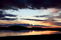 Sunset on a small lake in Iceland Royalty Free Stock Image