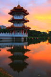 Sunset in a Small Lake with Pagoda Royalty Free Stock Images
