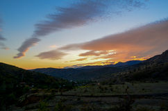 Sunset small. Spindrift clouds during amazing sunset in mountains, Ukraine Royalty Free Stock Images