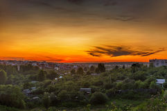 Sunset in a small town Royalty Free Stock Images
