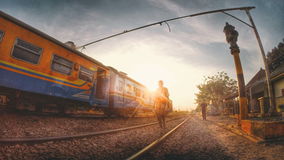 Sunset in Small Train Station in Java Island. The Collection of The Beauty Around Java and Bali Island. Holiday Vibes Stock Photo