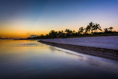 Sunset at Smathers Beach, Key West, Florida. Royalty Free Stock Images