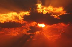 Sunset through smoke 2 Stock Photography