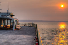Sunset Smoky Sky from Ferry Boat Washington state USA. View of the sunset through smokey skies caused by British Columbia forest wildfires from Washington state Stock Photography