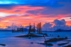 Sunset smooth sea. At krabi thailand stock photo