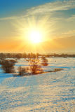Sunset on snowbound field in winter royalty free stock photo