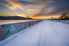 Sunset after a Snowfall on an Island in the Pacific Northwest Stock Images